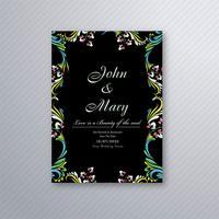 Vecteur de conception de carte d'invitation mariage floral décoratif