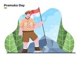 14 août célébrez l'illustration de la journée du pramuka en indonésie ou de la journée du scout vecteur