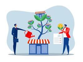 l'homme d'affaires arrose l'arbre d'argent pour développer les activités de franchise. vecteur