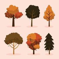 collection d'icônes d'arbre d'automne coloré vecteur