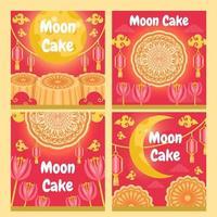 collection de cartes de gâteau de lune vecteur