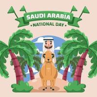 conception d'illustrations de la fête nationale saoudienne vecteur
