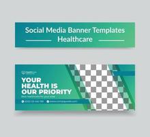 couverture de la chronologie des médias sociaux de la santé médicale et modèle de bannière Web vecteur