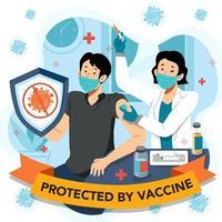 un homme fier se protège après le vaccin vecteur