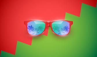 Lunettes de soleil vecteur réaliste sur un fond coloré, illustration vectorielle