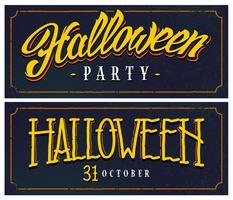 Halloween bannières rétro avec lettrage vecteur