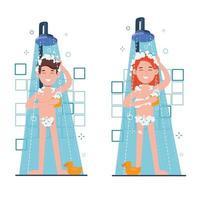 femme et homme prenant une douche matinale dans la salle de bain. lave la tête, vecteur