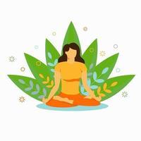 yoga en ligne. sport à la maison. silhouette d'une fille vecteur