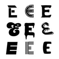 conception de l'alphabet majuscule e vecteur