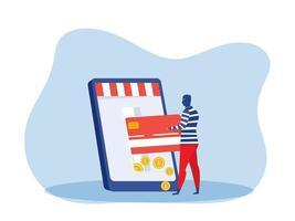 un voleur vole de l'argent sur une carte de crédit sur un téléphone portable. vecteur