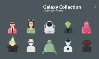 collection de personnages de galaxie vecteur