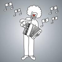 musicien homme d'affaires avec visage de joker jouant de l'accordéon piano vecteur