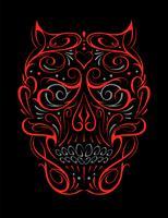 Motif abstrait de forme de crâne rouge vecteur