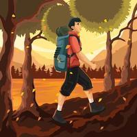 randonnée sur la forêt d'automne avec fond de lac vecteur