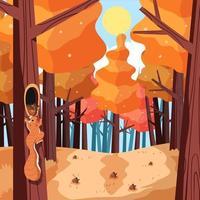 forêt de saison d'automne ensoleillée avec un écureuil vecteur