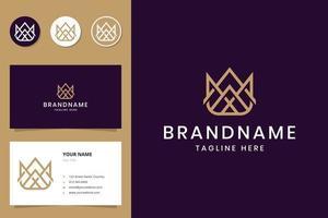 création de logo d'art de ligne de couronne vecteur