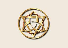 le grand sceau du triquetra d'or avec logo triangle et cercle de bronze vecteur
