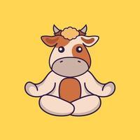 la vache mignonne médite ou fait du yoga. vecteur