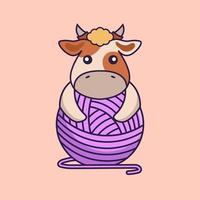 jolie vache jouant avec du fil de laine. vecteur