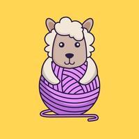 mouton mignon jouant avec du fil de laine. vecteur