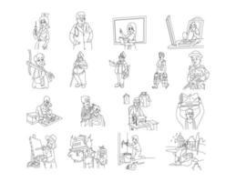 nos aides infirmière, médecin, enseignant, ensemble d'images clipart de dessin au trait vecteur