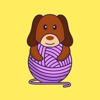 chien mignon jouant avec du fil de laine. vecteur