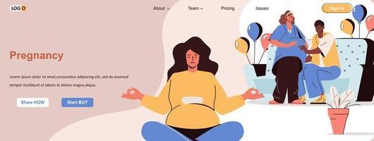 bannière web de femme enceinte pour le matériel promotionnel de médias sociaux vecteur