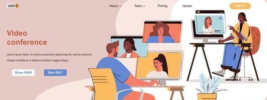 bannière Web de vidéoconférence pour le matériel promotionnel de médias sociaux vecteur