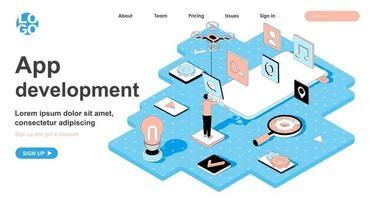 concept isométrique de développement d'applications pour la page de destination vecteur