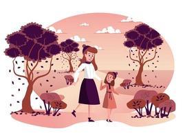 mère et fille marchant ensemble dans une scène isolée du parc d'automne vecteur