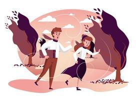 Homme et femme courant par temps venteux de tempête dans le parc d'automne isolé vecteur
