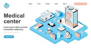 concept isométrique de centre médical pour la page de destination vecteur