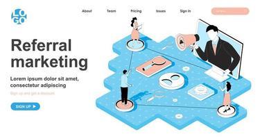 concept isométrique de marketing de référence pour la page de destination vecteur