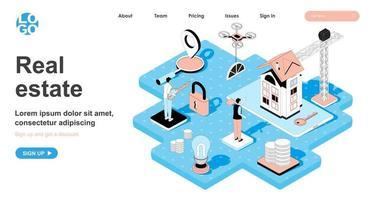 concept isométrique immobilier pour la page de destination vecteur