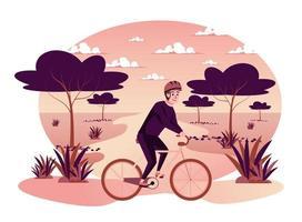Man riding bicycle en automne parc scène isolée vecteur