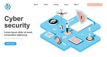 concept isométrique de cybersécurité pour la page de destination vecteur