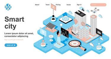 concept isométrique de ville intelligente pour la page de destination vecteur