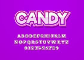 police vectorielle de style amusant de bonbons avec alphabet majuscule et nombre de chiffres vecteur
