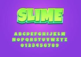 alphabet majuscule et nombre de polices vectorielles de style dessin animé enfants slime vecteur
