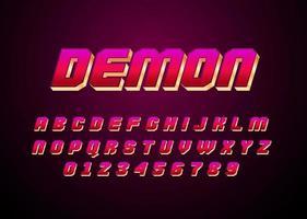 police vectorielle de style démon rouge et or avec majuscule et nombre de chiffres vecteur