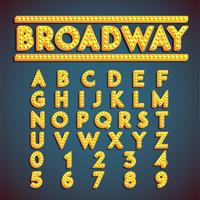 Jeu de polices 'Broadway' avec lampes, illustration vectorielle