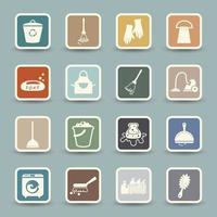 icônes de nettoyage isolés sur fond blanc vecteur