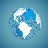 Globe terrestre sur un fond bleu, illustration vectorielle