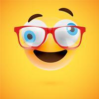 Émoticône jaune 3D avec des lunettes, illustration vectorielle
