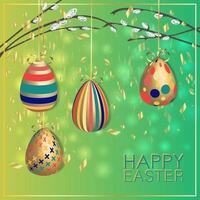 carte de Pâques. thème de printemps festif. oeufs accrochés aux branches. vecteur