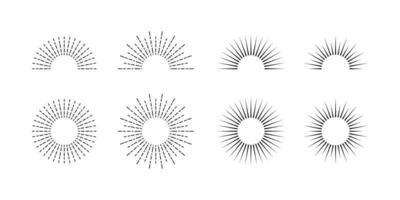 coucher de soleil rétro. piste de vitesse. vecteur de collection d'icônes sunburst.