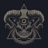 illustration vectorielle de monstre crâne un œil vecteur