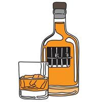 Personne alcoolique de métaphore dans la prison de bouteille d'alcool avec du verre vecteur