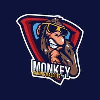 logo de jeu de mascottes de singe vecteur