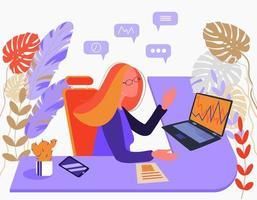 femme analyste financière secrétaire ou employée de bureau sur la table vecteur